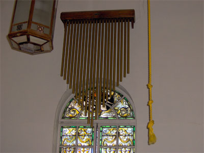 Click here to download a 2048 x 1536 JPG image showing the chimes on the wall of the sancuary.