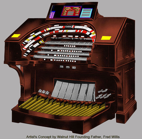 Click here to download a 1093 x 1065 artist's rendering of the proposed console of the Walnut Hill Virtual 4/36 Mighty WurliTzer Digital Theatre Organ. Artist's concept rendering by Walnut Hill Founding Father, Fred Willis.