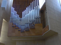 Click here to download a 2048 x 1536 pixel image showing a close up view of the pipework in the 4 manual Dobson Opus 75 Pipe Organ at the Cathedral of Our Lady of the Angels.