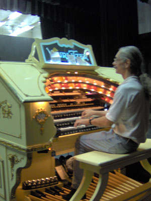 Click here to download a 1536 x 2048 JPG image showing the Bone Doctor at the console of the 3/18 Mighty WurliTzer Theatre Pipe Organ.
