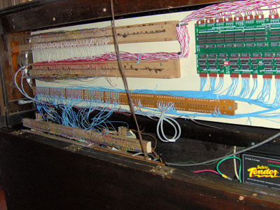 Click here to download a 2048 x 1536 JPG image showing the wiring in the console of the 2/9 Mighty WurliTzer Theatre Pipe Organ installed at the Pinellas Park Auditorium in Pinellas Park, Florida.