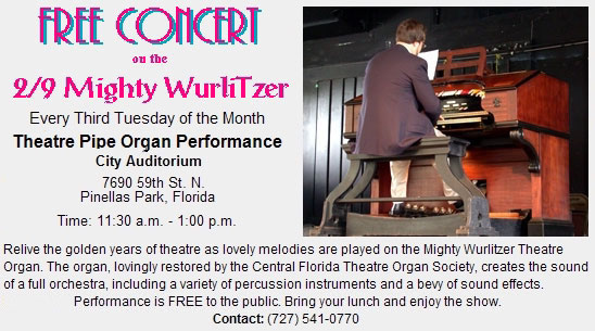 Click here to see the 2/9 Mighty WurliTzer Style 150B Theatre Pipe Organ installed at the Pinellas Park Auditorium.