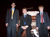 Click here to download a 2576 x 1932 pixel image showing the winners of the 2005 ATOS Young Organist Competition, from left to right - Mark Herman (last year's winner), Ian House (second place), and David Gray (2005 winner).