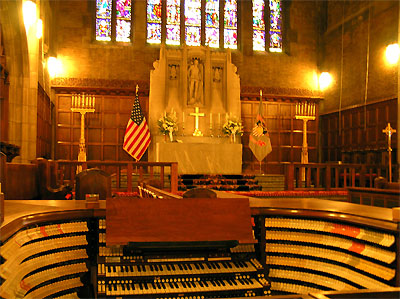 Click here to download a 2288 x 1712 JPG image showing the 4/380 Mighty M�ller Church Pipe Organ installed at the Cadet Chapel of the West Point Military Academy.