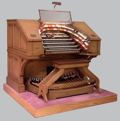 Click here to download an 800 x 809 JPG image showing the beautiful Ken Crome console of the J. Tyson Forker Memorial Organ at Grace Baptist Church in Sarasota, Florida, pattered after the Empire Organ that Jessie Crawford loved so much.