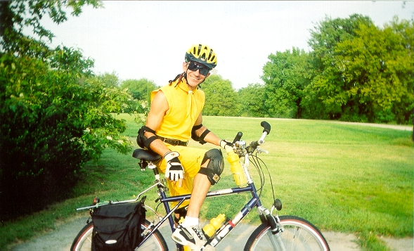 Download a picture of The Bone Doctor mounting his trusty GT Timberline 21-speed touring bicycle for a long ride through the Greenbelt Park in Maryville/Alcoa, Tennessee.